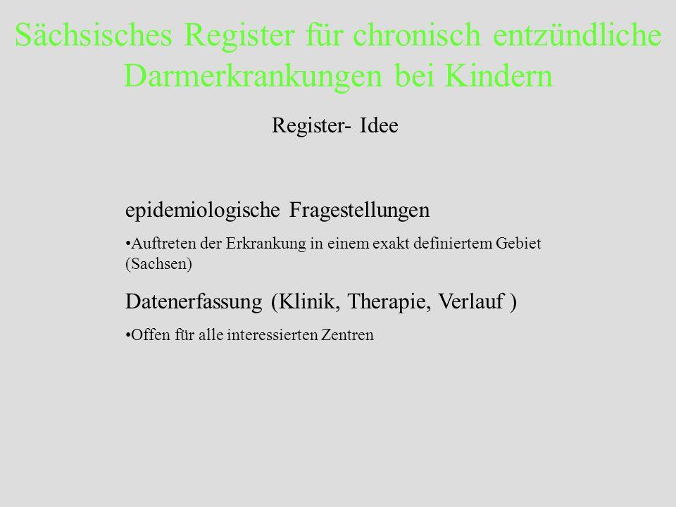 Sächsisches Register für chronisch entzündliche Darmerkrankungen bei Kindern Register- Idee epidemiologische Fragestellungen Auftreten der Erkrankung