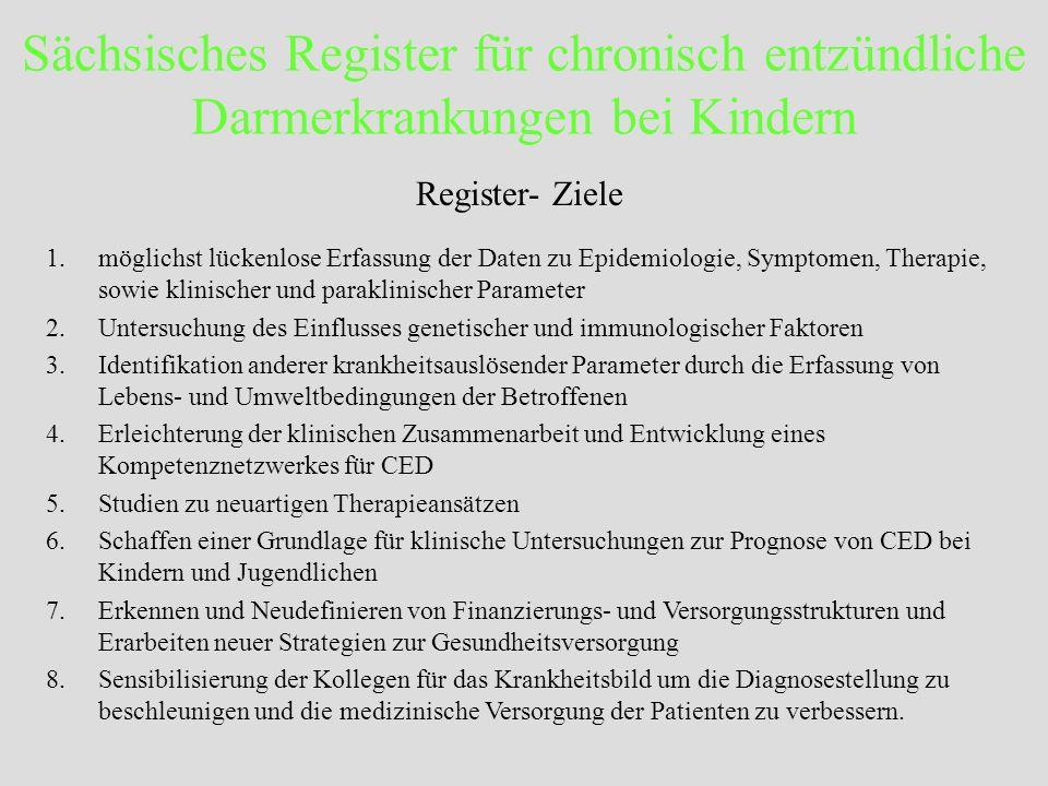 Sächsisches Register für chronisch entzündliche Darmerkrankungen bei Kindern Register- weitere Ergebnisse: CED und Gelenkbefall 1.Aussagen über Art, Dauer, Stärke des Gelenkbefalls 2.Alters – und Geschlechtsbeziehung 3.Häufigkeit in Abhängigkeit von der Art der CED (CU/MC/CI) 4.Ansprechen auf die Therapie 5.Koinzidenz CED – Rheuma 6.Positive Immunologische Laborparameter?
