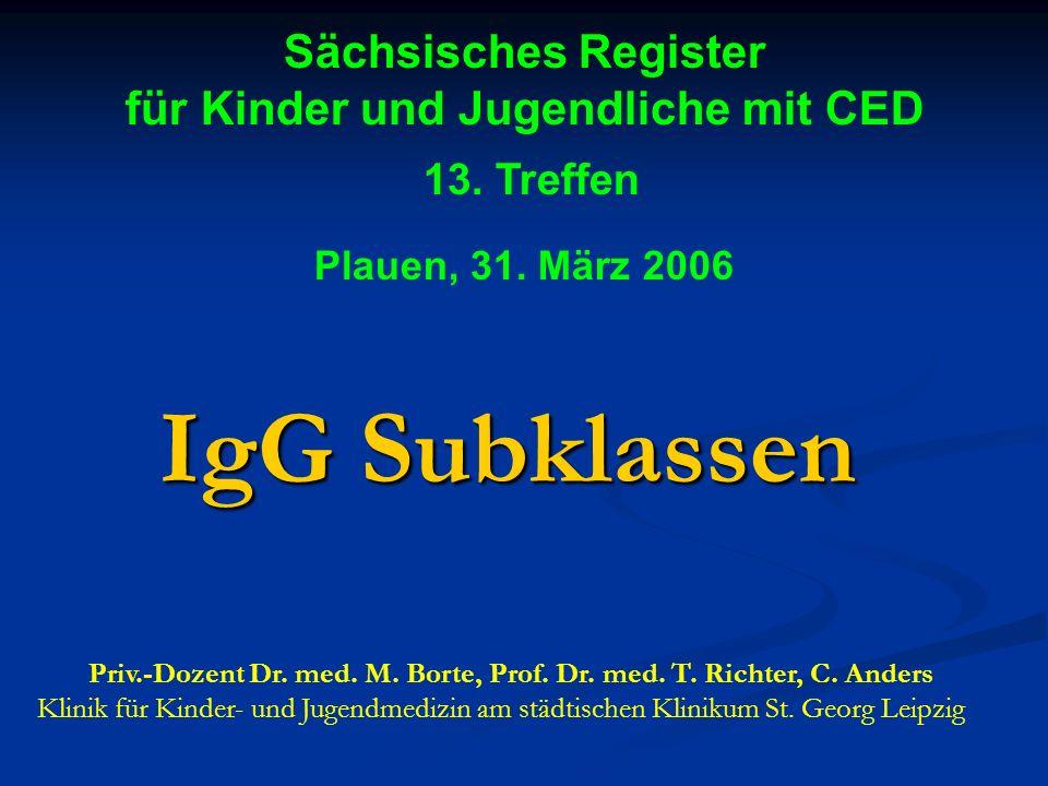 Sächsisches Register für Kinder und Jugendliche mit CED 13. Treffen Plauen, 31. März 2006. Dr. med. habil. M. Borte Klinik für Kinder- und Jugendmediz
