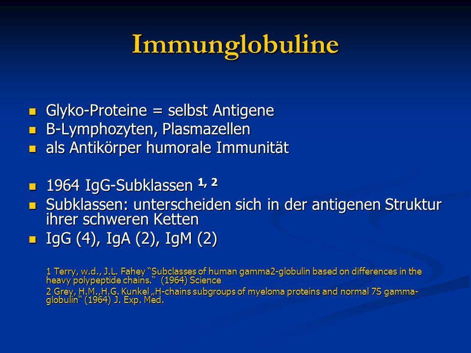 Immunglobuline Glyko-Proteine = selbst Antigene Glyko-Proteine = selbst Antigene B-Lymphozyten, Plasmazellen B-Lymphozyten, Plasmazellen als Antikörpe