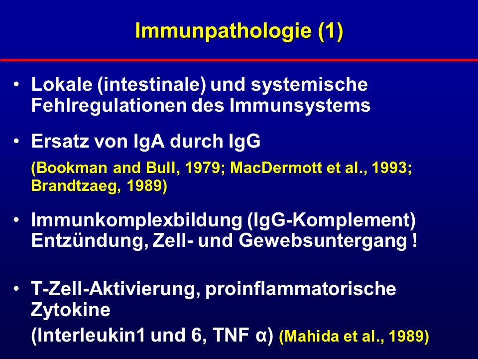 Immunpathologie (2) Unterschiedliche IgG-Subklassen-Expression: IgG1 und 3 bei Colitis ulcerosa, IgG1 und 2 bei M.