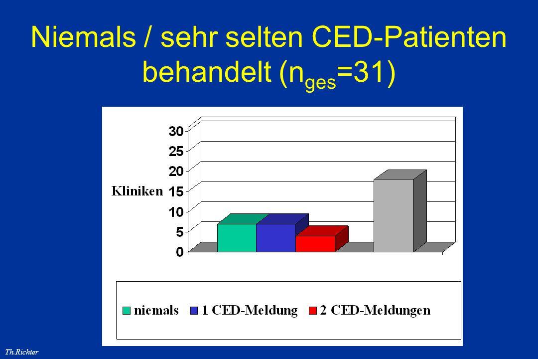 Th.Richter Niemals / sehr selten CED-Patienten behandelt (n ges =31)