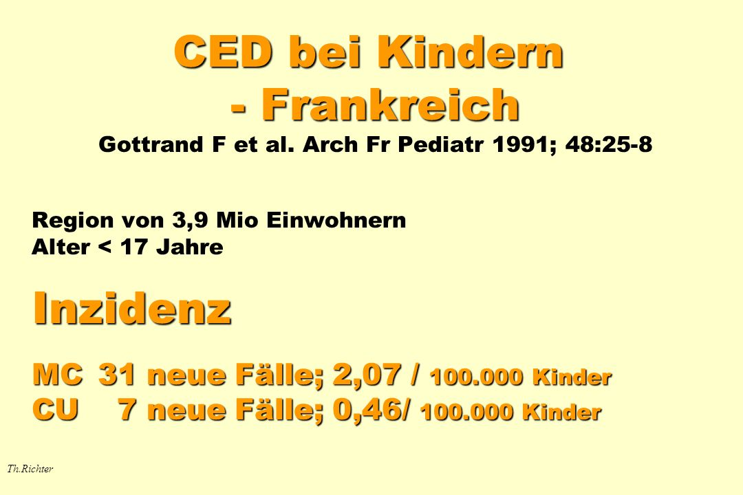 CED bei Kindern - Frankreich CED bei Kindern - Frankreich Gottrand F et al. Arch Fr Pediatr 1991; 48:25-8 Region von 3,9 Mio Einwohnern Alter < 17 Jah