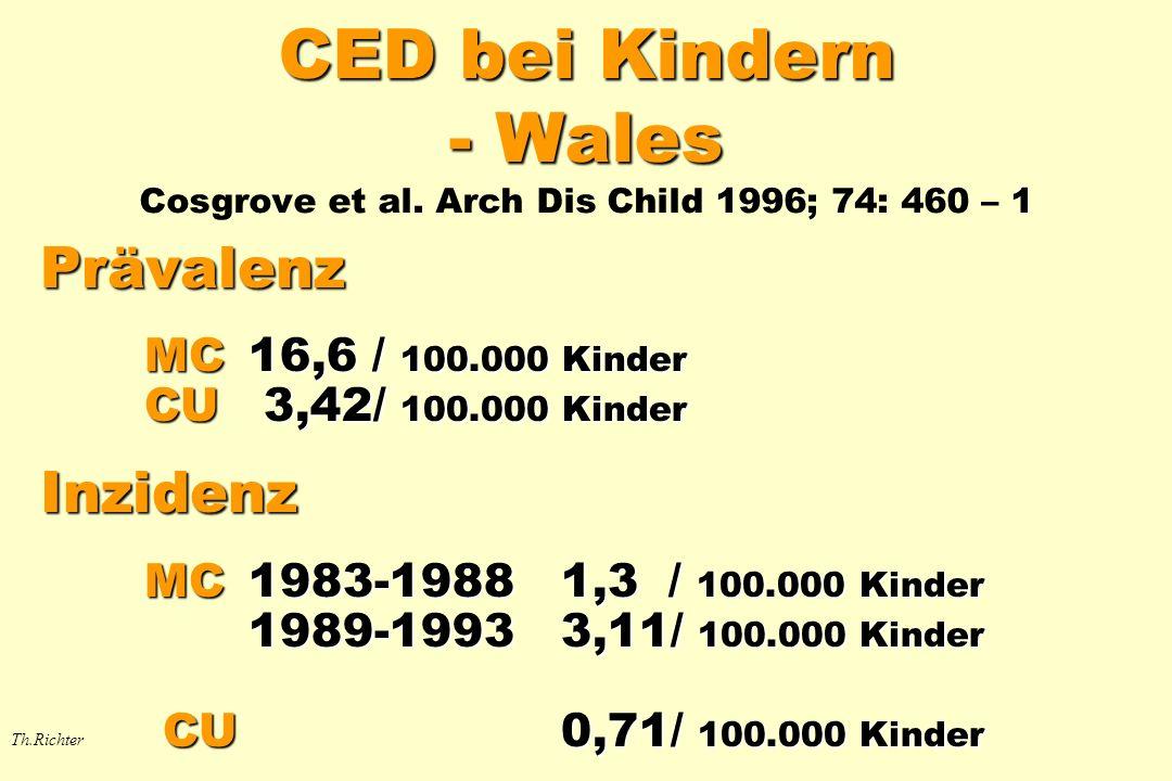 CED bei Kindern - Wales CED bei Kindern - Wales Cosgrove et al. Arch Dis Child 1996; 74: 460 – 1 Prävalenz MC16,6 / 100.000 Kinder CU 3,42/ 100.000 Ki