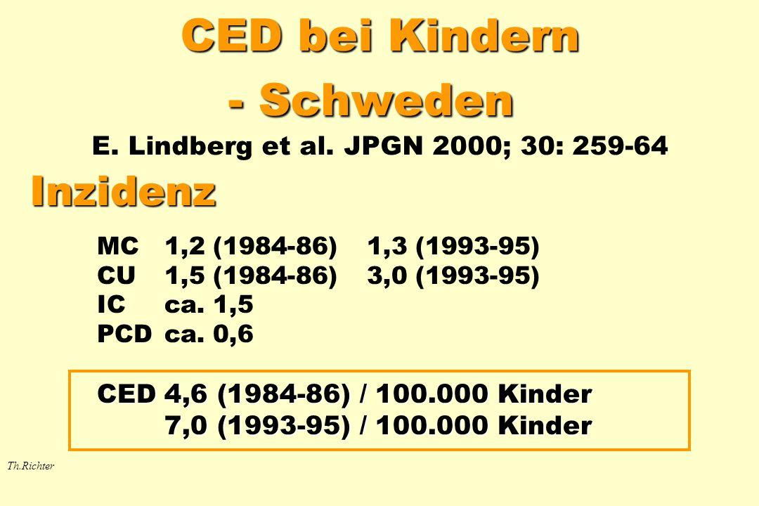 CED bei Kindern - Schweden CED bei Kindern - Schweden E. Lindberg et al. JPGN 2000; 30: 259-64 Inzidenz MC1,2 (1984-86)1,3 (1993-95) CU1,5 (1984-86)3,