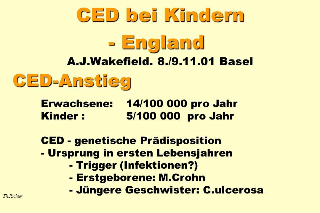 Schätzung* der CED – Häufigkeit bei Kindern in der BRD Th.Richter Inzidenz 780 CED-Kinder / 15 Mio Kinder bzw.
