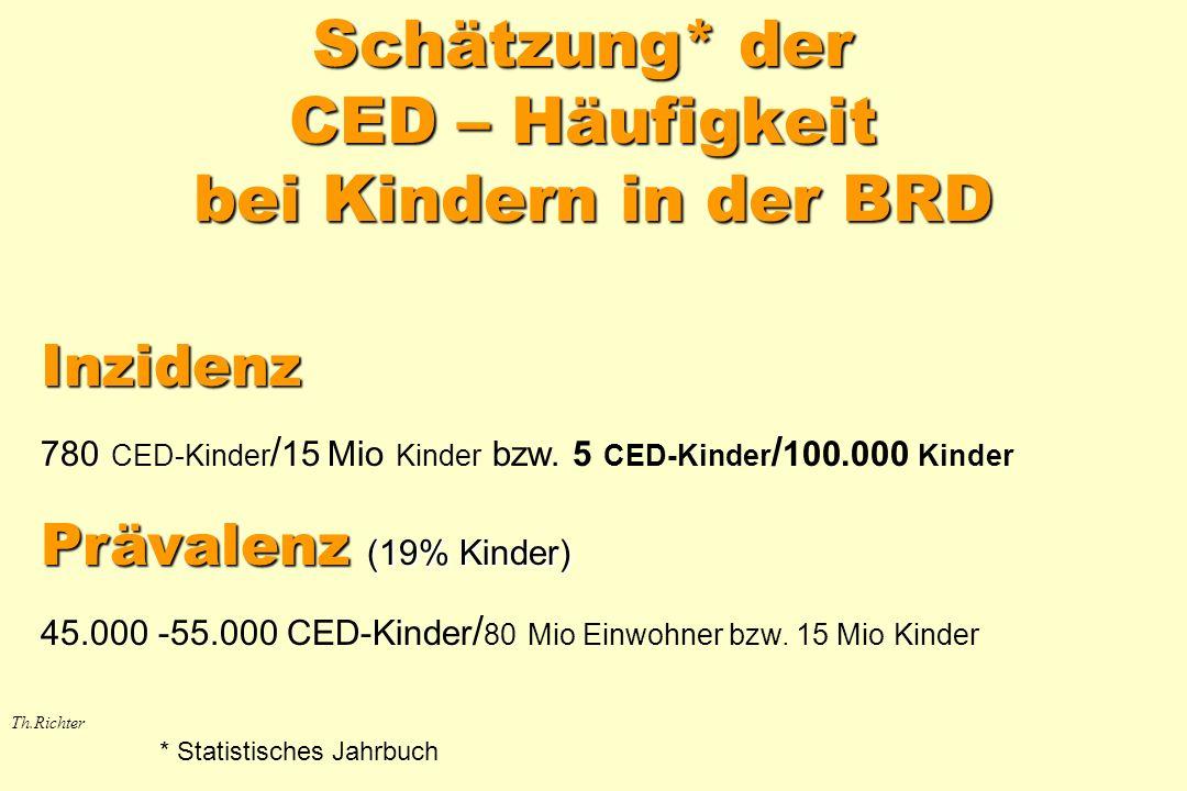 Schätzung* der CED – Häufigkeit bei Kindern in der BRD Th.Richter Inzidenz 780 CED-Kinder / 15 Mio Kinder bzw. 5 CED-Kinder / 100.000 Kinder Prävalenz