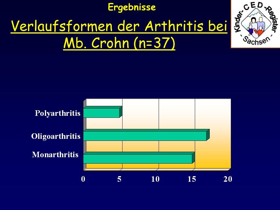Ergebnisse Verlaufsformen der Arthritis bei Colitis ulcerosa und C. indeterminata (n=21)