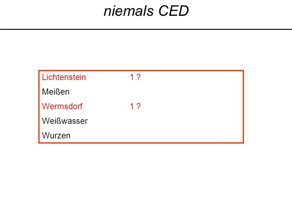 niemals CED Lichtenstein1 ? Meißen Wermsdorf1 ? Weißwasser Wurzen