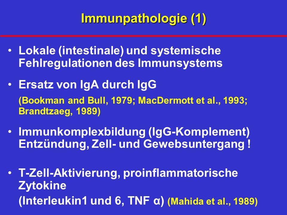 Immunpathologie (1) Lokale (intestinale) und systemische Fehlregulationen des Immunsystems Ersatz von IgA durch IgG (Bookman and Bull, 1979; MacDermott et al., 1993; Brandtzaeg, 1989) Immunkomplexbildung (IgG-Komplement) Entzündung, Zell- und Gewebsuntergang .