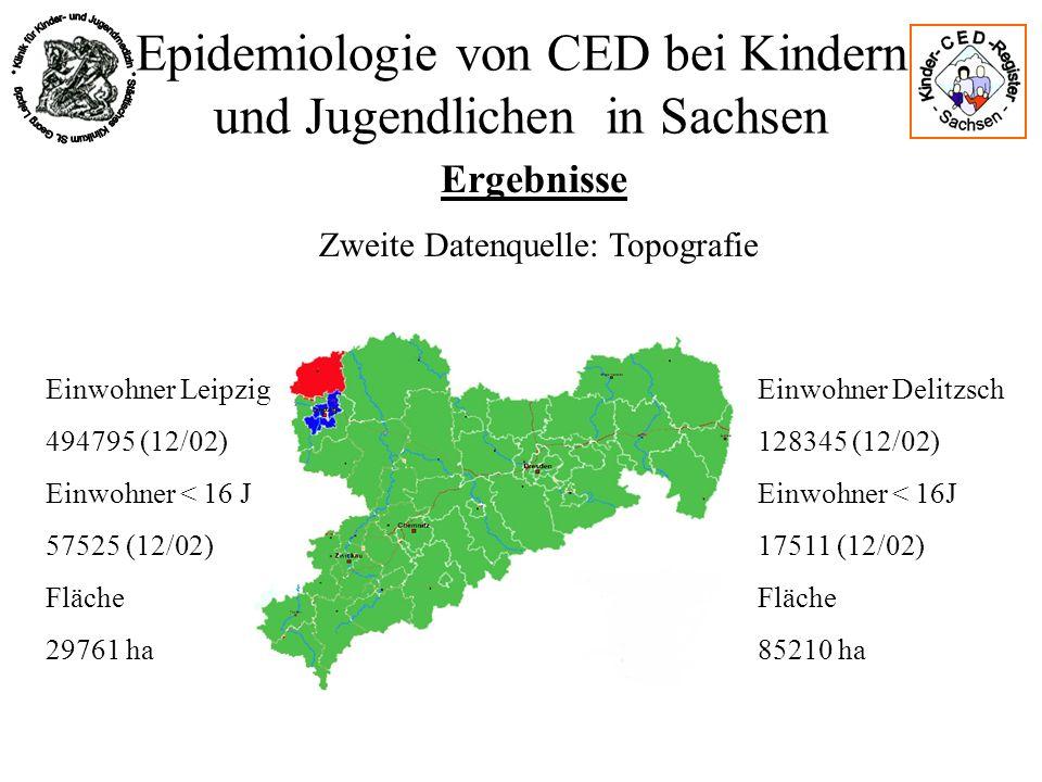 Epidemiologie von CED bei Kindern und Jugendlichen in Sachsen Ergebnisse Einwohner Leipzig 494795 (12/02) Einwohner < 16 J 57525 (12/02) Fläche 29761