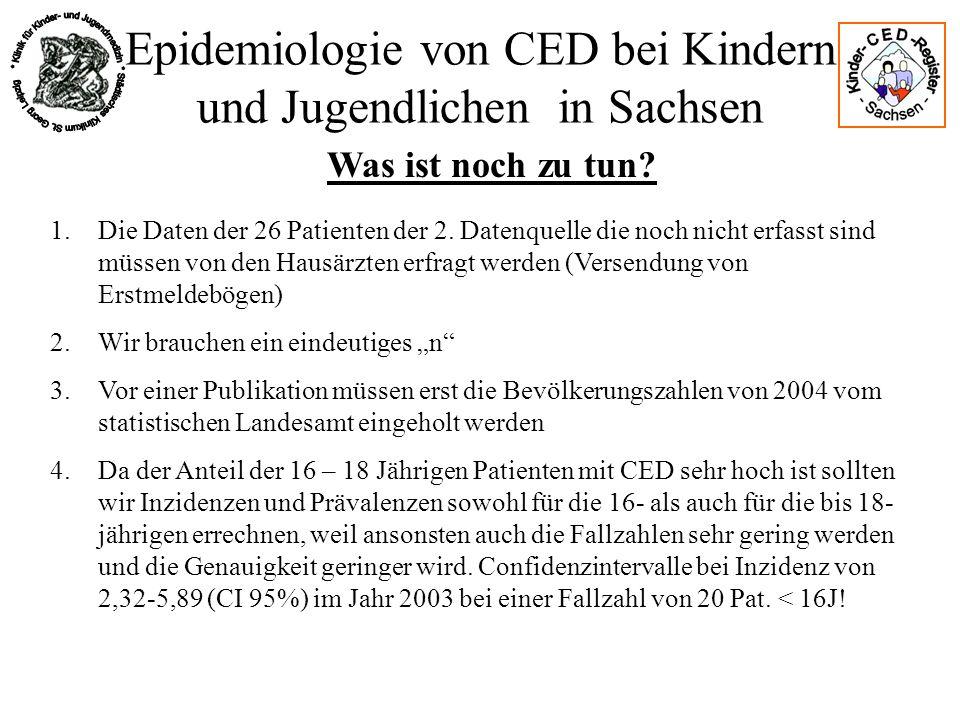 Epidemiologie von CED bei Kindern und Jugendlichen in Sachsen Was ist noch zu tun? 1.Die Daten der 26 Patienten der 2. Datenquelle die noch nicht erfa