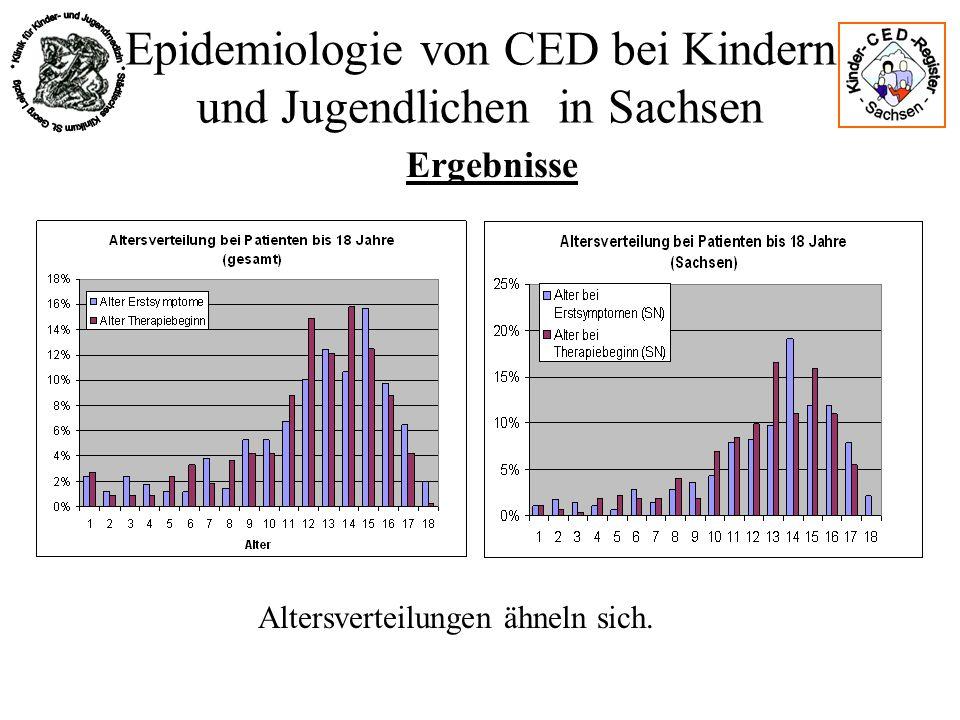 Epidemiologie von CED bei Kindern und Jugendlichen in Sachsen Ergebnisse Altersverteilungen ähneln sich.