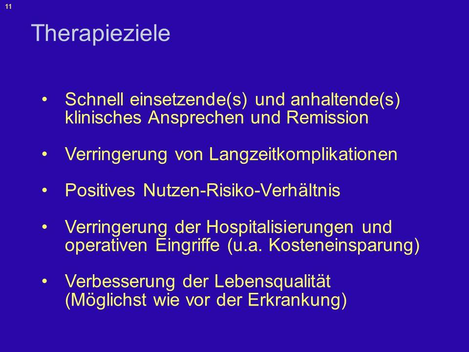 12 Therapie des Morbus Crohn /Kasuistik 1 2001: Patient 43 Jahre, 63 kg, 174 cm, weiblich Anamnese –Symptomatik seit 1993 –ED 1995 Koloskopie: Ileitis terminalis