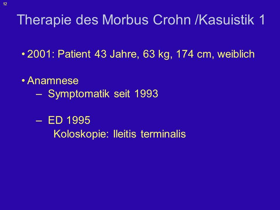 13 Kasuistik 1 Anamnese –schwere Rezidive mit massiven blutigen Stühlen Hochdosierte Steroidtherapie, langsame Besserung Steroidreduktion führte jeweils zu einer Aktivitätszunahme –Begleitende Therapie mit Budenosid und 5- ASA ohne wesentlichen Einfluss