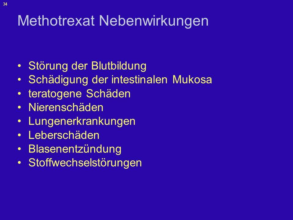 35 Methotrexat Vorsichtsmaßnahmen Blutbild Leberenzyme Bilirubin Serumalbumin Nierenfunktionsproben Hepatitis-Serologie obligate Kontrazeption (auch für Männer) ggf.
