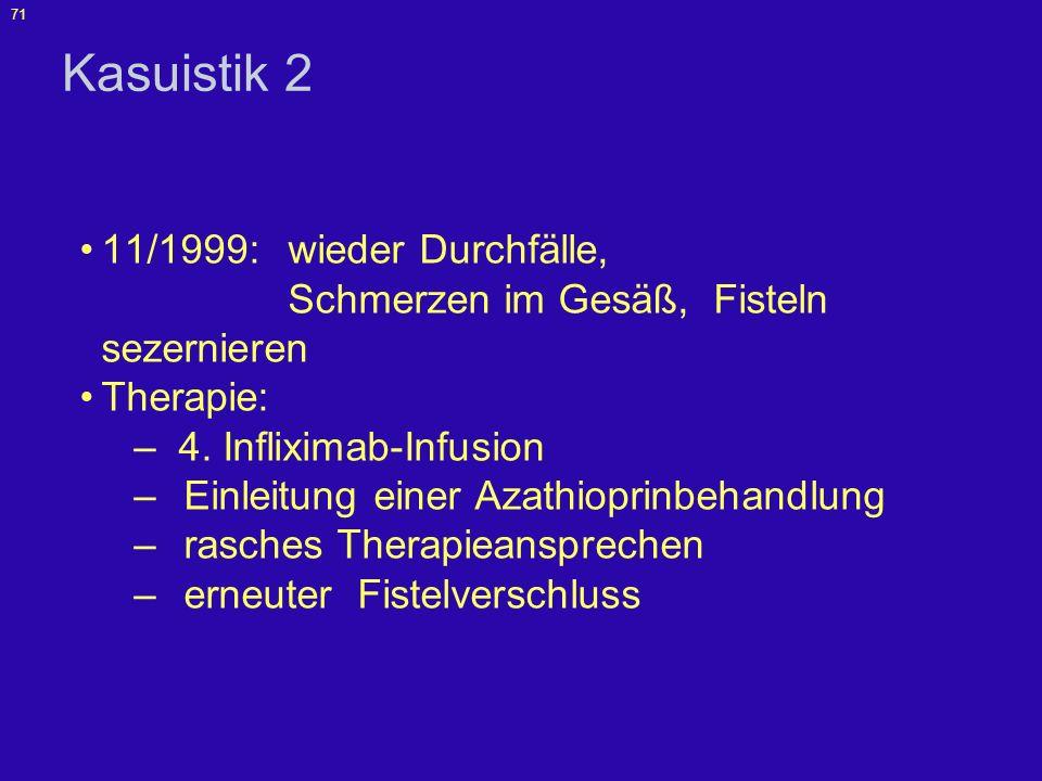 72 Kasuistik 2 3/2000 - 11/2003: - rezidivierende Fistel-Aktivitäten - weitere 14 Infliximab-Infusionen, - zeitweilige Antibiotika-Therapie, - 2 kurze stationäre Aufenthalte zur erneuten Fistel-Revision und Drainage, - rez.