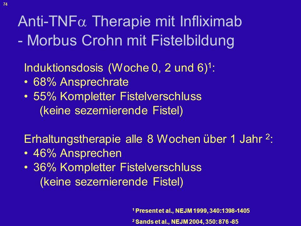 75 ACCENT II - Studiendesign Alle Patienten, n = 306 Infusion Woche 0 Infliximab 5 mg/kg Woche 2 Woche 6 Woche 14 Responder n = 195 (69%) Nonresponder n = 87 (31%) Woche 22 Placebo alle 8 Wochen n = 99 Infliximab 5 mg/kg alle 8 Wochen n = 96 Prim Endpunkt Analyse, n=195 Evaluation in Woche 54 Sicherheitsanalyse, n=282 Infliximab 5 mg/kg alle 8 Wochen n = 50 Infliximab 10 mg/kg alle 8 Wochen n = 28 Woche 30 Woche 38 Woche 46 24 Patienten; Abbruch Placebo alle 8 Wochen n = 44 Infliximab 5 mg/kg alle 8 Wochen n = 43 Infliximab 5 mg/kg alle 8 Wochen n = 10 Infliximab 10 mg/kg alle 8 Wochen n = 7