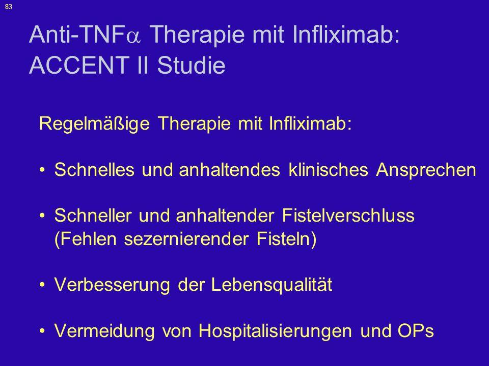 83 Anti-TNF Therapie mit Infliximab: ACCENT II Studie Regelmäßige Therapie mit Infliximab: Schnelles und anhaltendes klinisches Ansprechen Schneller u
