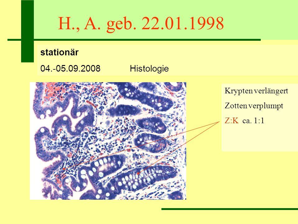 H., A. geb. 22.01.1998 stationär 04.-05.09.2008Histologie Krypten verlängert Zotten verplumpt Z:K ca. 1:1 72 IEL/100 Epithelzellen