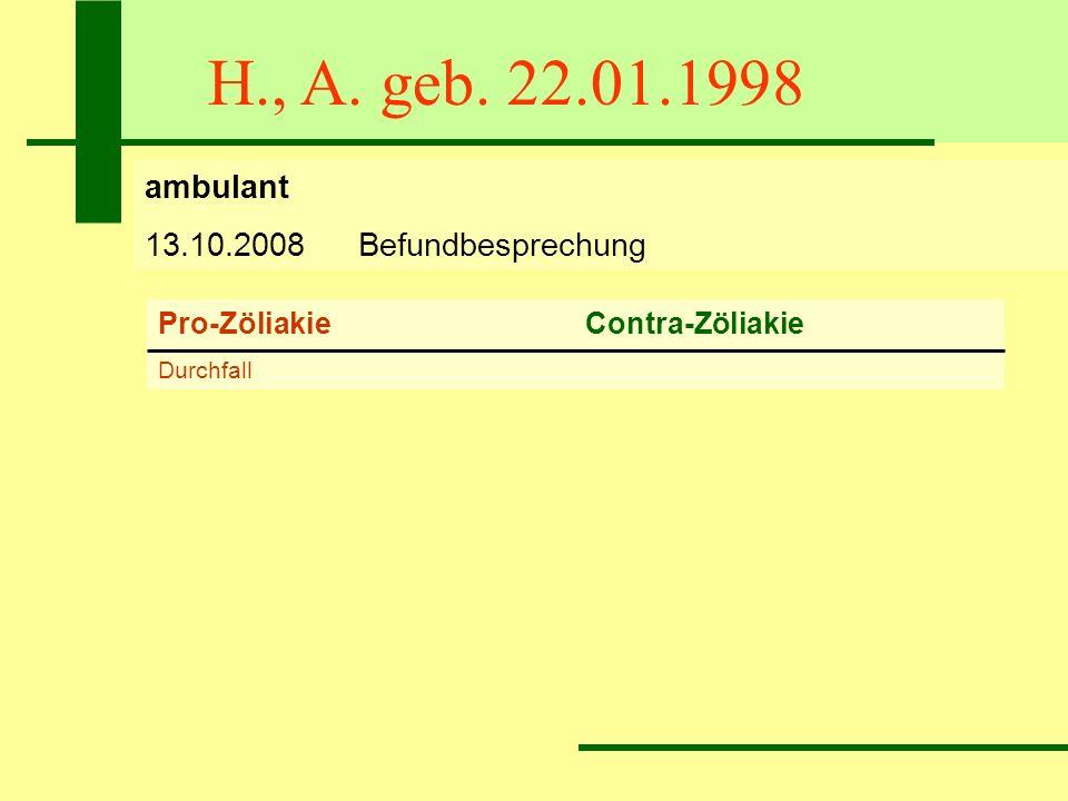 H., A. geb. 22.01.1998 ambulant 13.10.2008Befundbesprechung Pro-ZöliakieContra-Zöliakie Durchfall