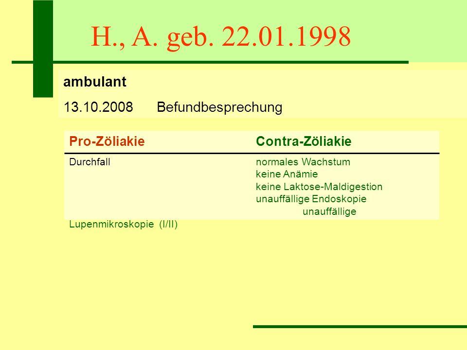 H., A. geb. 22.01.1998 ambulant 13.10.2008Befundbesprechung Pro-ZöliakieContra-Zöliakie Durchfallnormales Wachstum keine Anämie keine Laktose-Maldiges