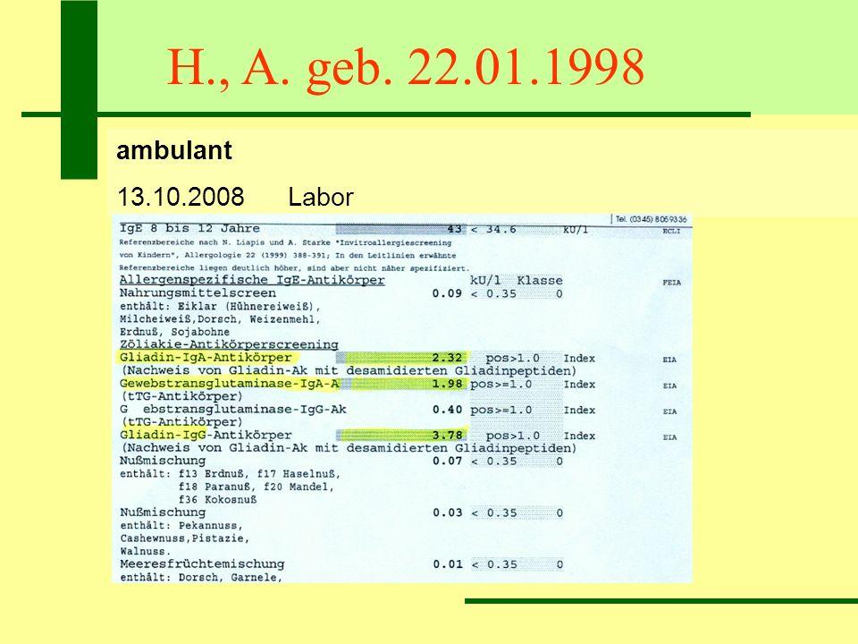 H., A. geb. 22.01.1998 ambulant 13.10.2008Labor