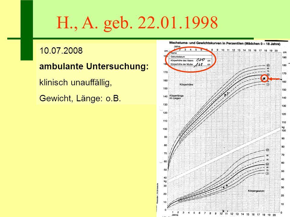 H., A. geb. 22.01.1998 10.07.2008 ambulante Untersuchung: klinisch unauffällig, Gewicht, Länge: o.B. unauffällig