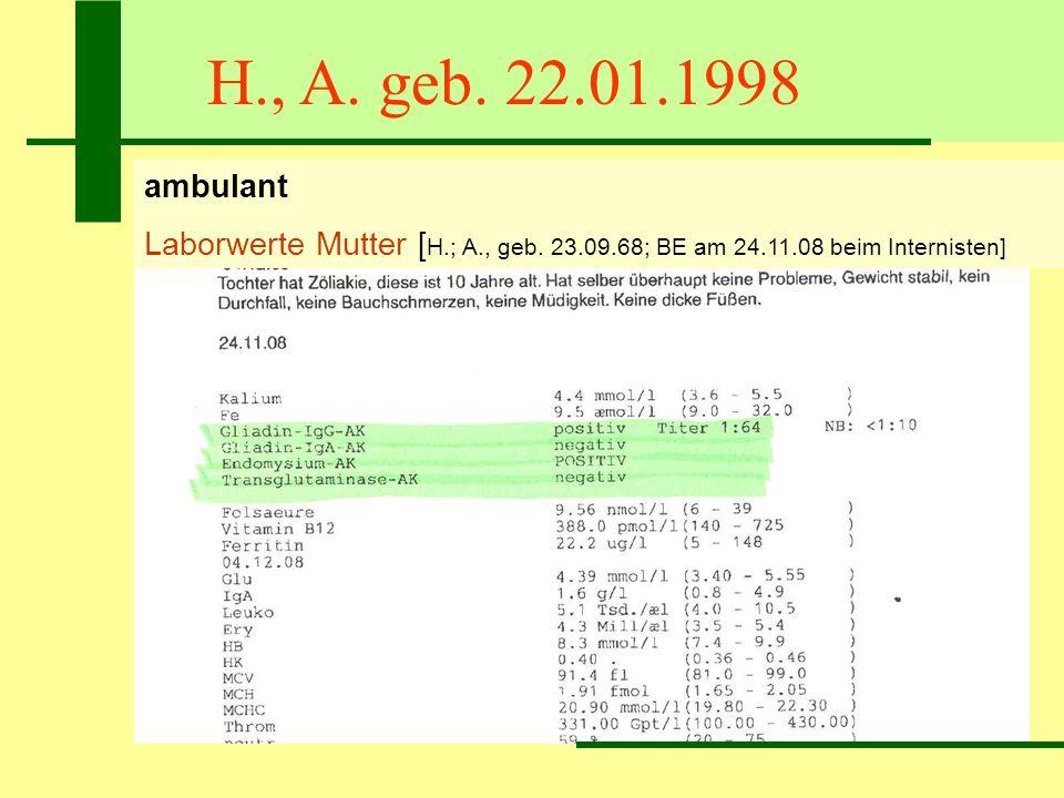 H., A. geb. 22.01.1998 ambulant Laborwerte Mutter [ H.; A., geb. 23.09.68; BE am 24.11.08 beim Internisten]