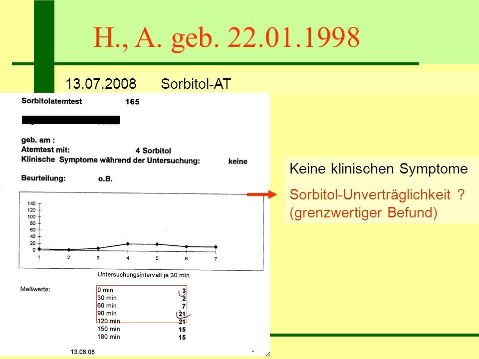 H., A. geb. 22.01.1998 13.07.2008Sorbitol-AT Keine klinischen Symptome Sorbitol-Unverträglichkeit ? (grenzwertiger Befund)