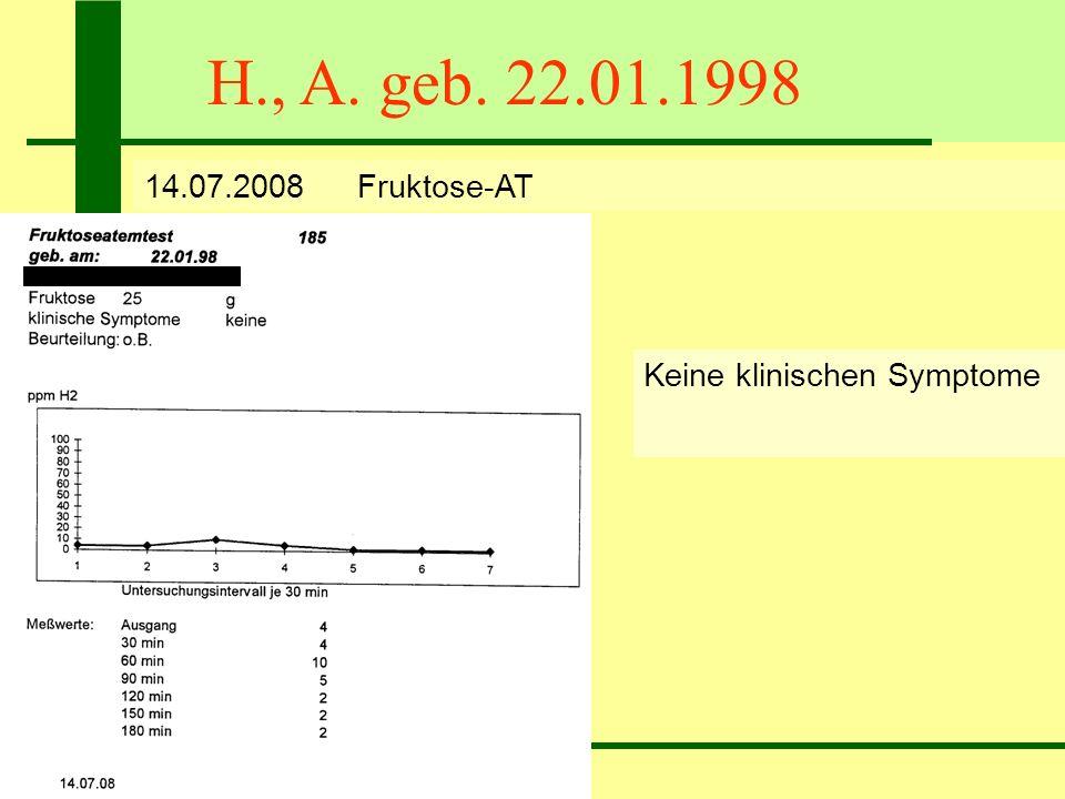 H., A. geb. 22.01.1998 14.07.2008Fruktose-AT Keine klinischen Symptome Keine Fruktose-MA