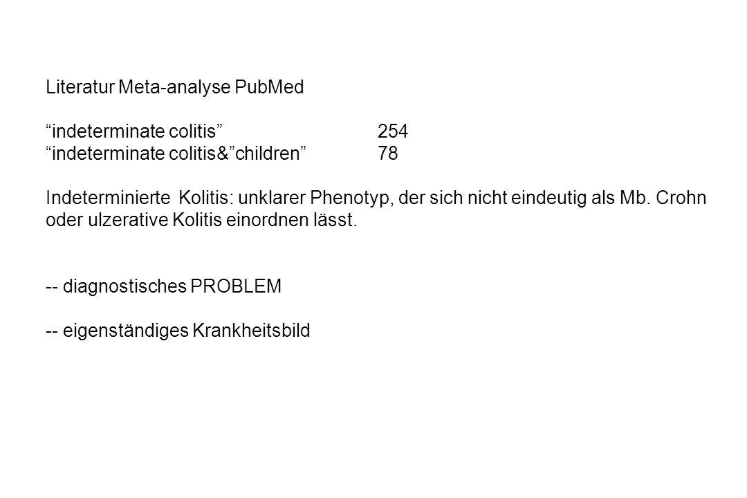 Literatur Meta-analyse PubMed indeterminate colitis254 indeterminate colitis&children78 Indeterminierte Kolitis: unklarer Phenotyp, der sich nicht ein