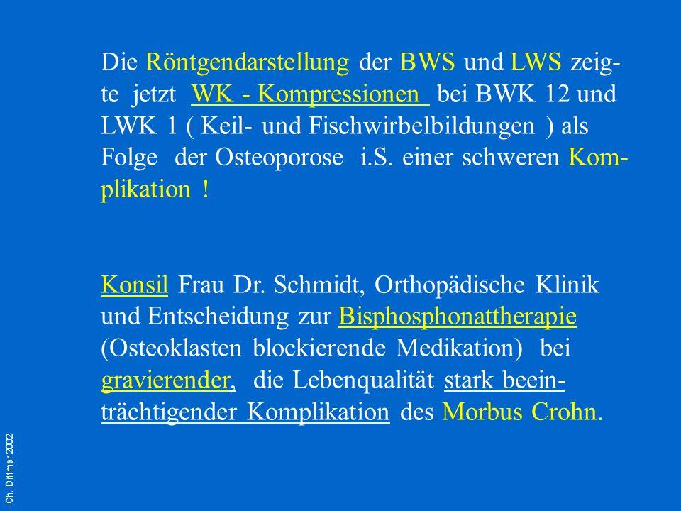 Ch. Dittmer 2002 Die Röntgendarstellung der BWS und LWS zeig- te jetzt WK - Kompressionen bei BWK 12 und LWK 1 ( Keil- und Fischwirbelbildungen ) als