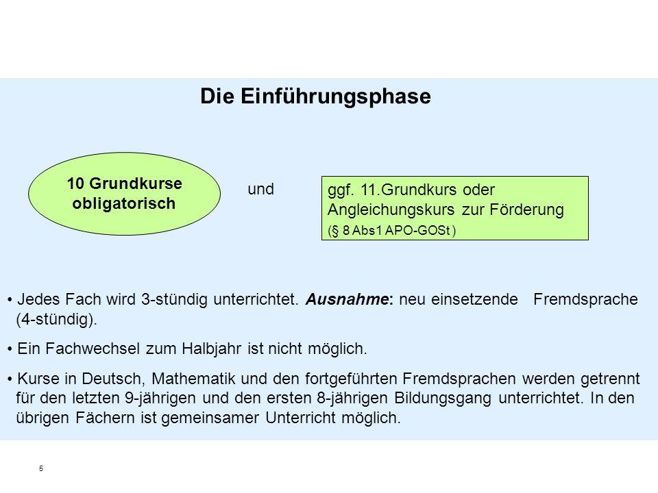 5 10 Grundkurse obligatorisch ggf. 11.Grundkurs oder Angleichungskurs zur Förderung (§ 8 Abs1 APO-GOSt ) Die Einführungsphase und Jedes Fach wird 3-st