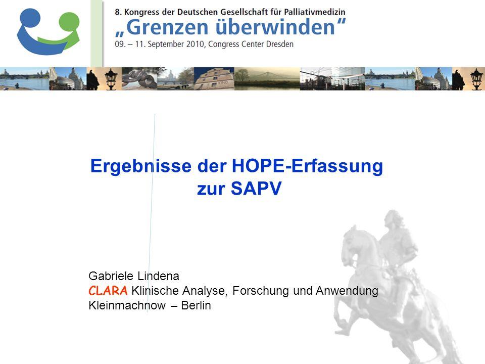 Lindena, CLARA Klinische Forschung, 2010 Gabriele Lindena CLARA Klinische Analyse, Forschung und Anwendung Kleinmachnow – Berlin Ergebnisse der HOPE-E