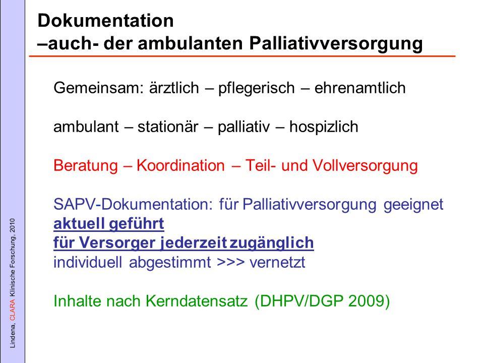 Lindena, CLARA Klinische Forschung, 2010 Gemeinsam: ärztlich – pflegerisch – ehrenamtlich ambulant – stationär – palliativ – hospizlich Beratung – Koo