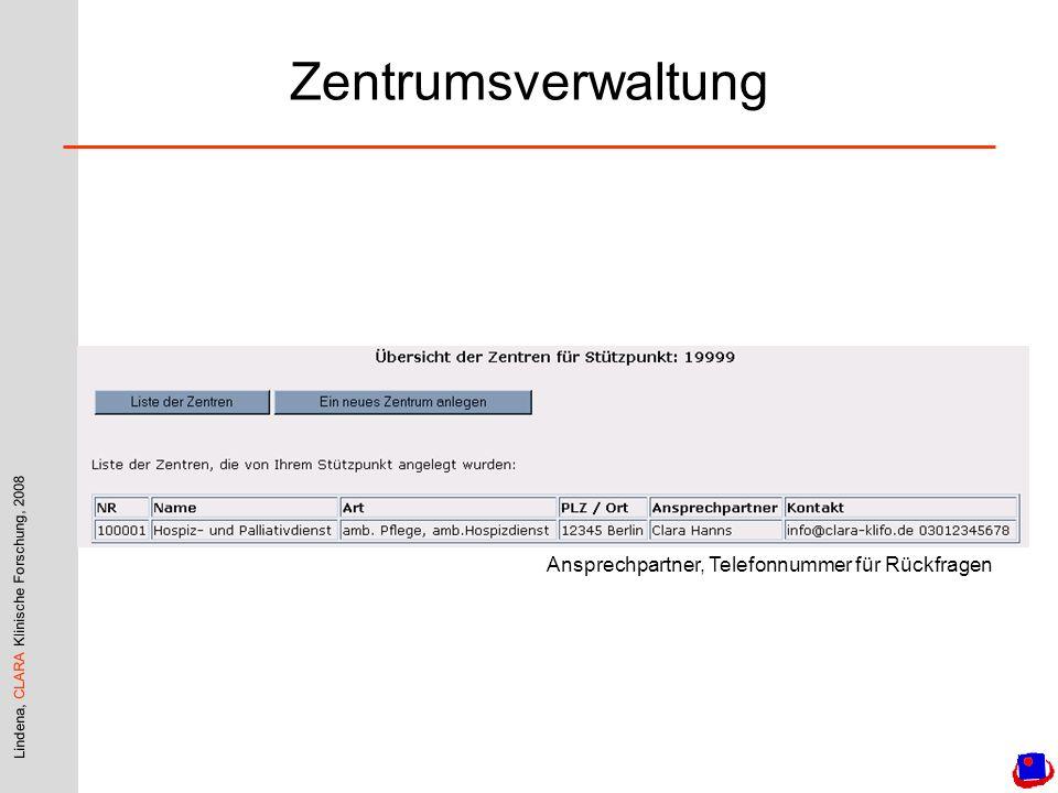 Lindena, CLARA Klinische Forschung, 2008 Zentrumsverwaltung Ansprechpartner, Telefonnummer für Rückfragen