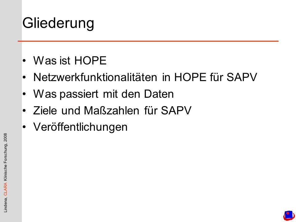 Lindena, CLARA Klinische Forschung, 2008 Gliederung Was ist HOPE Netzwerkfunktionalitäten in HOPE für SAPV Was passiert mit den Daten Ziele und Maßzahlen für SAPV Veröffentlichungen