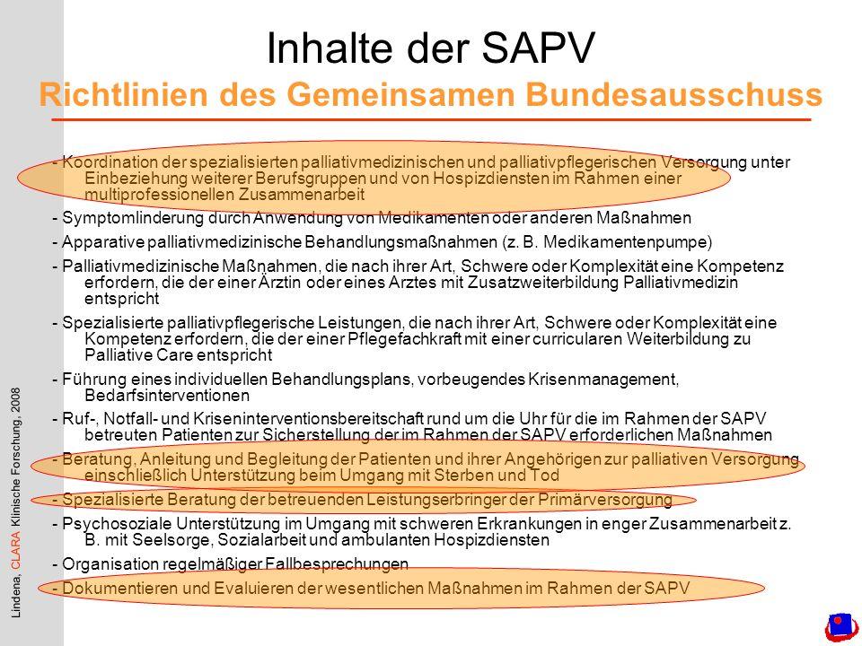 Lindena, CLARA Klinische Forschung, 2008 Inhalte der SAPV Richtlinien des Gemeinsamen Bundesausschuss - Koordination der spezialisierten palliativmedi