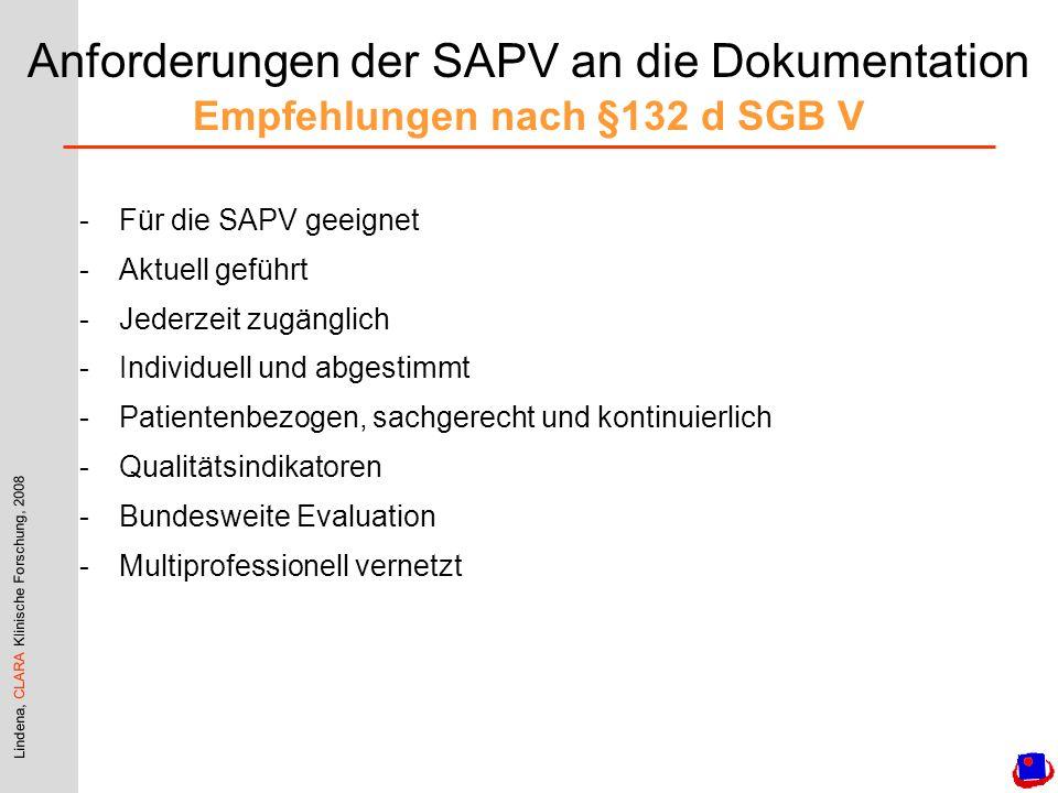 Lindena, CLARA Klinische Forschung, 2008 Anforderungen der SAPV an die Dokumentation Empfehlungen nach §132 d SGB V -Für die SAPV geeignet -Aktuell geführt -Jederzeit zugänglich -Individuell und abgestimmt -Patientenbezogen, sachgerecht und kontinuierlich -Qualitätsindikatoren -Bundesweite Evaluation -Multiprofessionell vernetzt