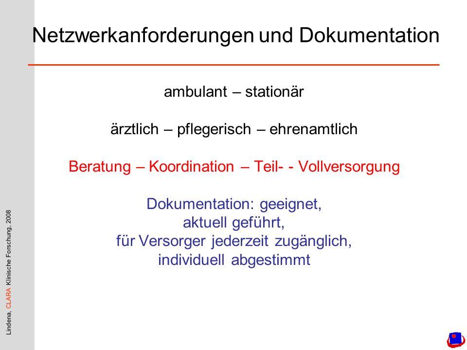 Lindena, CLARA Klinische Forschung, 2008 ambulant – stationär ärztlich – pflegerisch – ehrenamtlich Beratung – Koordination – Teil- - Vollversorgung D