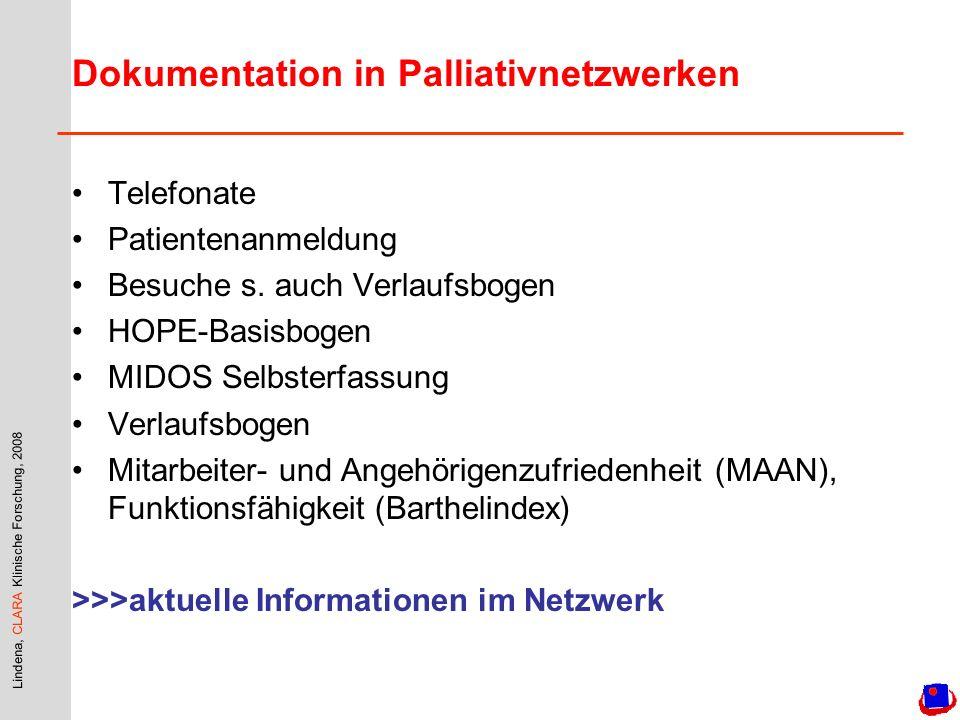 Lindena, CLARA Klinische Forschung, 2008 Dokumentation in Palliativnetzwerken Telefonate Patientenanmeldung Besuche s. auch Verlaufsbogen HOPE-Basisbo