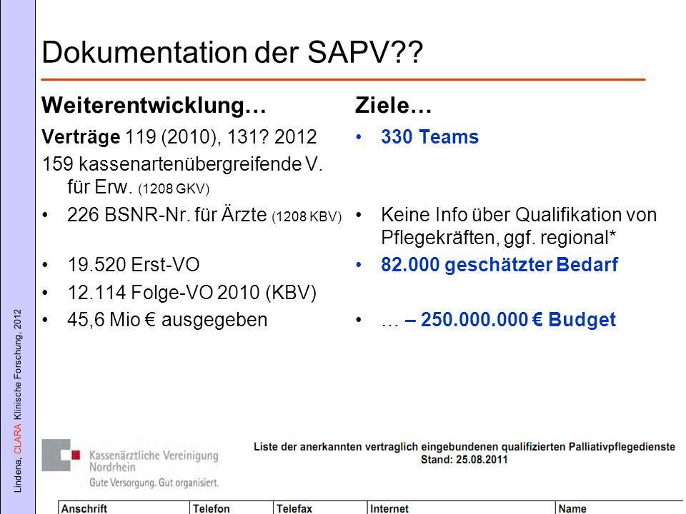 Lindena, CLARA Klinische Forschung, 2012 Dokumentation der SAPV?? Weiterentwicklung… Verträge 119 (2010), 131? 2012 159 kassenartenübergreifende V. fü