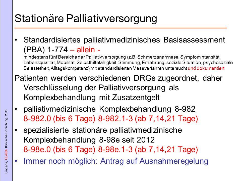 Lindena, CLARA Klinische Forschung, 2012 Stationäre Palliativversorgung Standardisiertes palliativmedizinisches Basisassessment (PBA) 1-774 – allein -