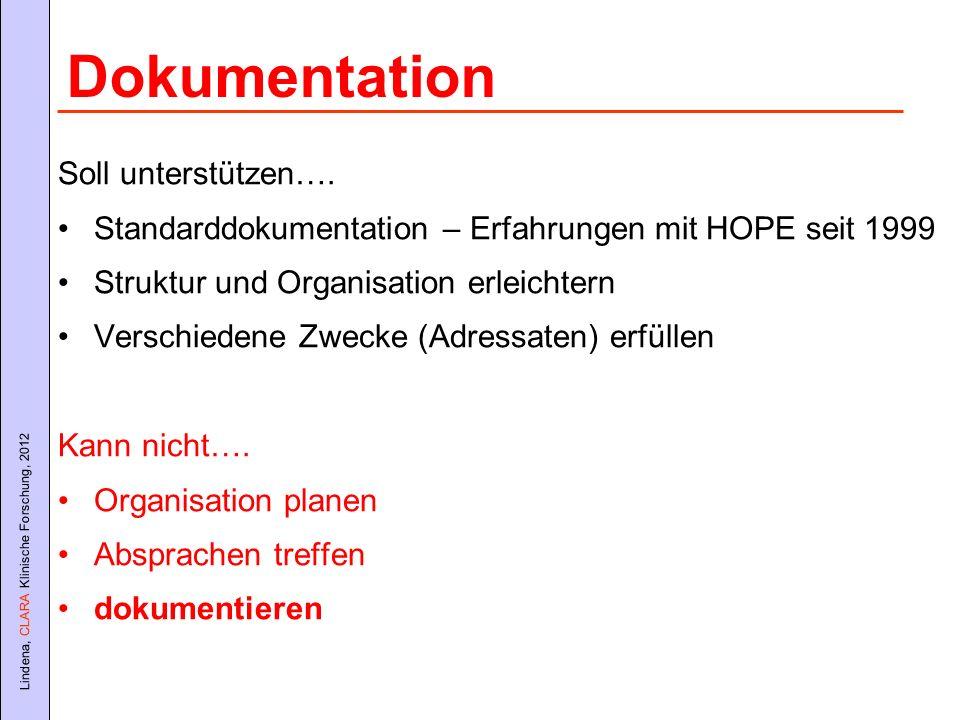Lindena, CLARA Klinische Forschung, 2012 Soll unterstützen…. Standarddokumentation – Erfahrungen mit HOPE seit 1999 Struktur und Organisation erleicht
