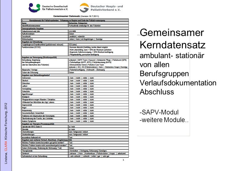 Lindena, CLARA Klinische Forschung, 2012 Gemeinsamer Kerndatensatz ambulant- stationär von allen Berufsgruppen Verlaufsdokumentation Abschluss -SAPV-M