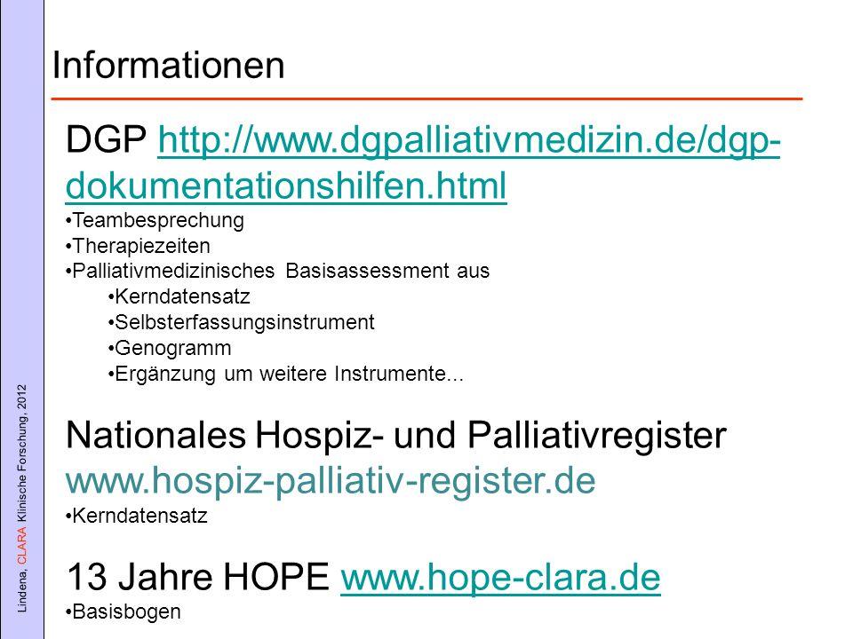 Lindena, CLARA Klinische Forschung, 2012 DGP http://www.dgpalliativmedizin.de/dgp- dokumentationshilfen.htmlhttp://www.dgpalliativmedizin.de/dgp- doku