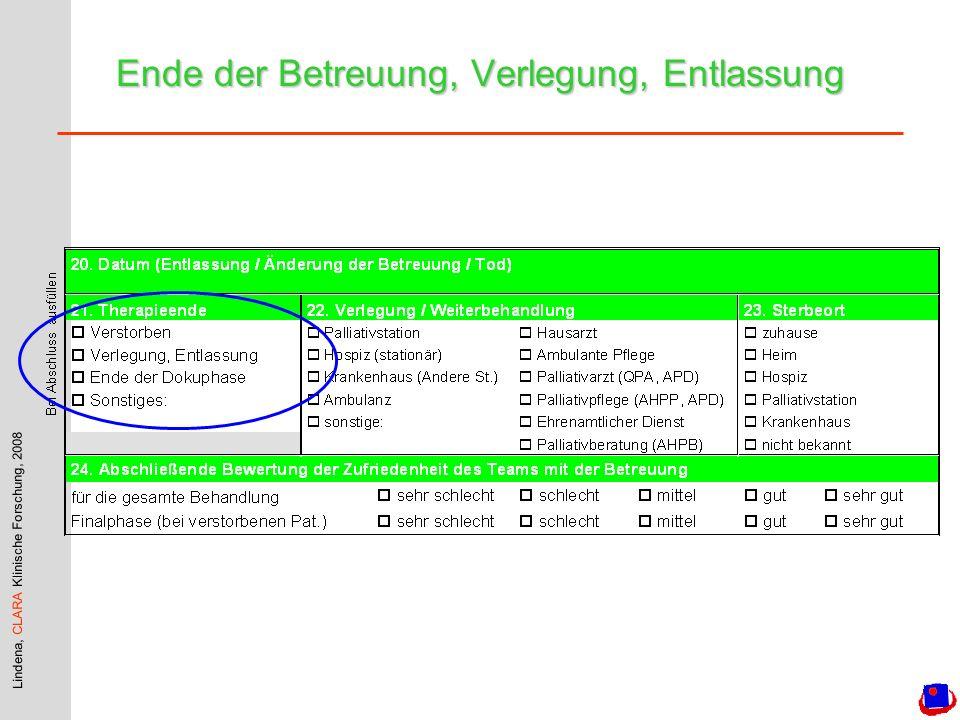 Lindena, CLARA Klinische Forschung, 2008 zu / nach Hause % der Patienten je Einrichtung