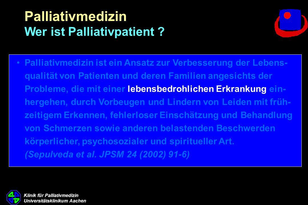 Klinik für Palliativmedizin Universitätsklinikum Aachen HOPE 2006 Tumorpatienten (2841 Pat.)
