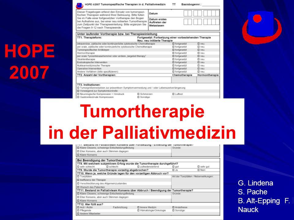 Fragestellungen: Palliativmedizinische Praxis und Haltung zu tumorspezifischen Therapien in Onkologie, Palliativ- und Hospizeinrichtungen .